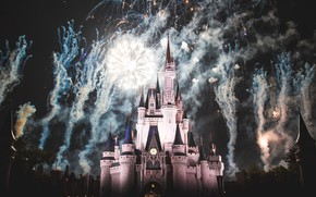 Picture castle, France, Paris, Night, fireworks, Paris, Disneyland, France, castle, Disneyland, Cinderella castle, disney world
