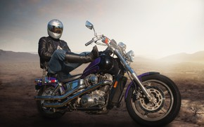 Picture background, people, motorcycle