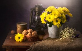 Picture flowers, table, background, food, bouquet, yellow, milk, bucket, white, nuts, still life, items, burlap, composition, …