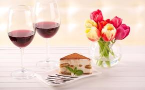 Picture wine, glasses, tulips, vase, cake