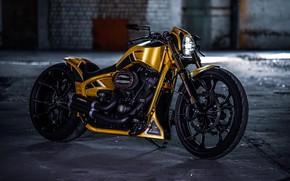 Picture Yellow, Harley-Davidson, Custom, Motorcycle, Thunderbike