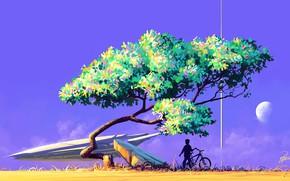 Picture Tree, Boy, Ship, Silhouette, Sky, Art, Art, Fiction, Roman Avseenko, by Roman Avseenko