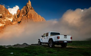 Picture white, clouds, mountains, SUV, pickup, Gladiator, 4x4, Jeep, Rubicon, 2019