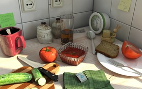 Picture table, routine, food, cucumber, kitchen, dishes, tomato, life