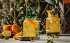Picture lemon, orange, banks, lemonade