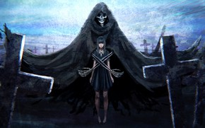 Picture girl, death, darkness, crosses