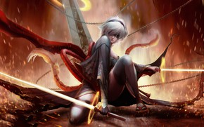 Picture fire, sword, sparks, fire, sword, chain, Android, android, beautiful girl, beautiful girl, chains, sparks, Nier …