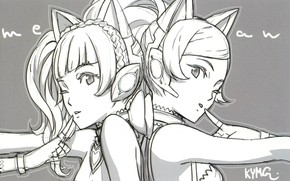 Picture grey background, vocaloid, wink, the vocaloids, back to back, cat ears, two girls, a finger …