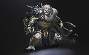 Picture Fantasy, Monster, Art, Warrior, Axe, by G-host Lee, G-host Lee, Dragonwarrior