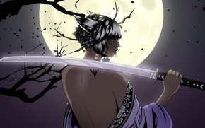 Picture Girl, Night, The moon, Style, Girl, Sword, Moon, Fantasy, Back, Style, Night, Fiction, Fiction, Katana, …