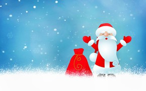 Picture winter, snow, red, pose, holiday, graphics, vector, hands, Christmas, New year, Santa Claus, bag, gesture, …