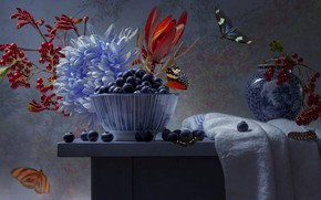 Picture butterfly, flowers, branches, berries, table, towel, vase, bowl, still life