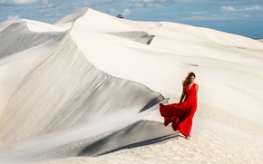 Picture sand, girl, the wind, red, desert, hair, dress