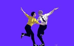 Picture dance, art, purple background, Yuri on Ice, Yuri on the ice, Viktor Nikiforov, Yuri Katsuki