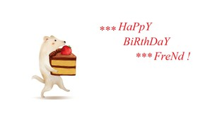 Picture puppy, white background, congratulations, happy birthday, piece of cake, strawberry cake