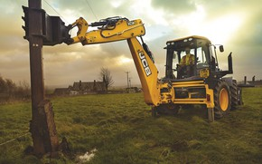 Picture the sky, grass, post, meadow, tractor, driver, cabin, capture, excavator, wheel, JCB, mites, the excavator …