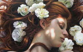 Picture girl, flowers, hair, sleeping