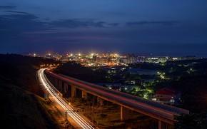Wallpaper road, night, the city, lights