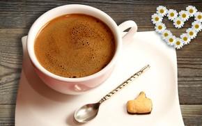 Picture coffee, chamomile, spoon