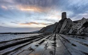 Picture sea, shore, tower