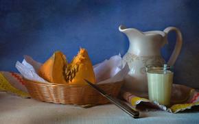 Picture glass, basket, milk, knife, dishes, pumpkin, still life, napkin, the milkman