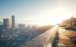 Picture sunset, the city, nightcity, cyberpunk2077