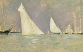 Picture sea, picture, sail, Paul Cesar Helleu, Paul Cesar Helleu, Sailboats Floating in Cowes