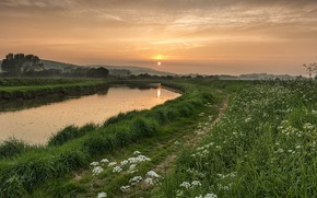 Picture river, morning, path