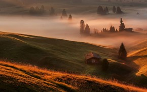 Picture fog, morning, Alps, houses