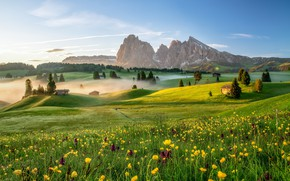 Wallpaper mountains, fog, morning, Italy, The Dolomites, The Alpe di Siusi