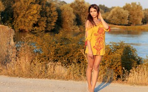 Picture girl, river, landscape, lake, beautiful girl, standing