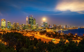 Picture night, the city, lights, building, home, skyscrapers, the evening, Australia, twilight, Perth