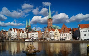 Picture river, home, Germany, Lubeck, spire