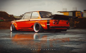 Picture Auto, Retro, BMW, Machine, Tuning, Boomer, BMW, Orange, Car, 2002, Rendering, Coupe, BMW 2002 Turbo, …