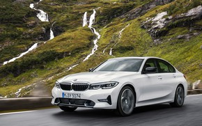 Picture Car, Waterfall, Road, BMW 3-Series, 2019