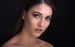 Picture look, close-up, model, portrait, makeup, hairstyle, brown hair, beauty, black background, Valeria, Dmitry Sn, Dmitry …