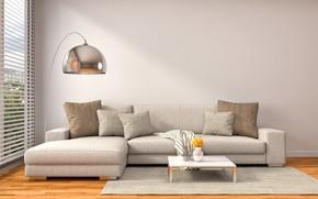 Picture design, sofa, interior, pillow, window, modern