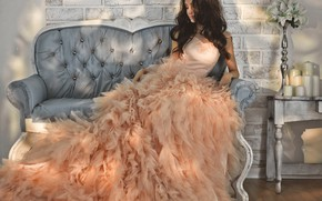 Picture girl, sofa, dress, sitting, model, Korobkova Nadezda