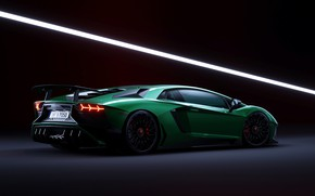 Picture Lamborghini, Green, Aventador, Artwork, CGI, Aventador SV