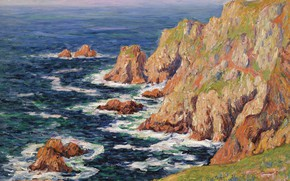 Picture sea, landscape, rocks, picture, Henri Sea, Henry Moret, Wild Coast