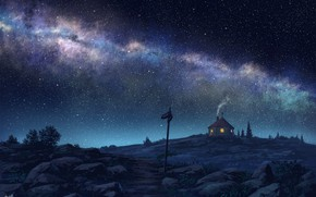 Picture night, house, the milky way, starry sky