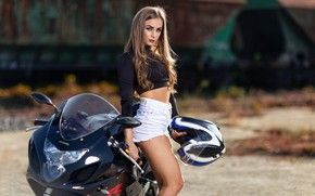 Picture look, girl, pose, background, model, shorts, portrait, makeup, Mike, figure, hairstyle, motorcycle, helmet, brown hair, …