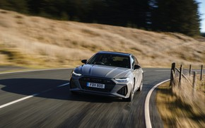 Picture road, Audi, the fence, speed, universal, RS 6, 2020, 2019, V8 Twin-Turbo, RS6 Avant, UK-version