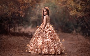 Picture autumn, leaves, dress, girl