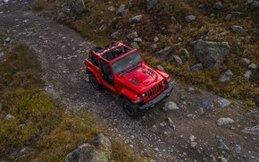 Picture road, red, stones, vegetation, the view from the top, 2018, Jeep, Wrangler Rubicon