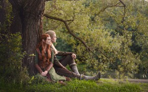 Picture grass, tree, fantasy, elves, pair, cosplay, the edge, cosplay, Legolas, The hobbit, Hobbit, Legolas, Tauriel, …