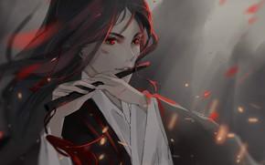 Picture fog, hands, sparks, flute, red eyes, long hair, abrasion, Mo Dao Zu Shi, Master evil …