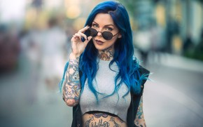Picture model, look, blue hair, Martin Wong