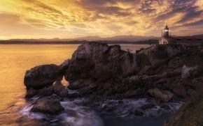 Picture sea, sunset, rocks, lighthouse