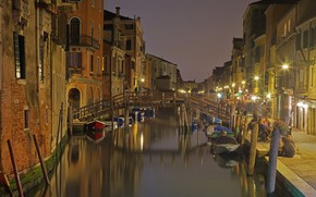 Picture bridge, lights, Italy, Venice, channel